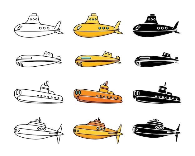 Conjunto de submarinos. embarcações militares. a marinha.
