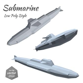 Conjunto de submarinos isolados no branco