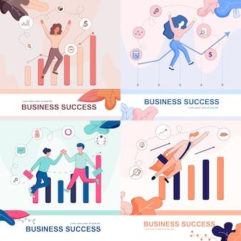 Conjunto de sucesso de negócios. empresários felizes.
