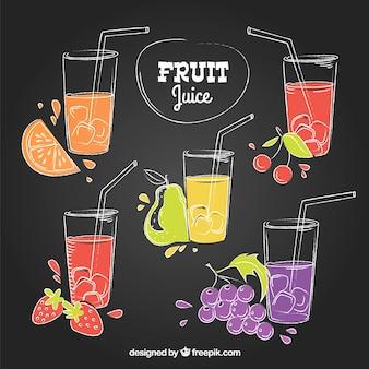 Conjunto de suco de fruta desenhado à mão