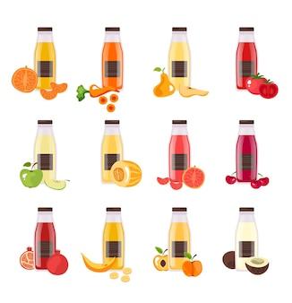 Conjunto de suco de vegetais de frutas em garrafa isolada
