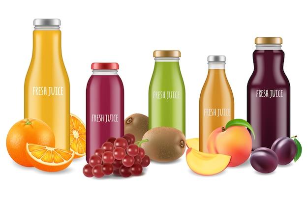 Conjunto de suco fresco e ilustração de frutas