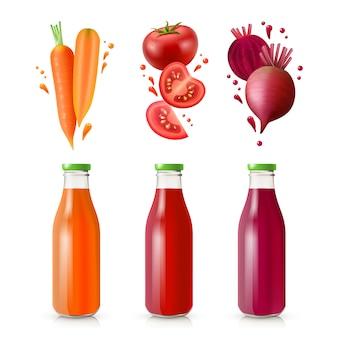 Conjunto de sucos vegetais