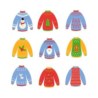 Conjunto de suéter feio tradicional de natal