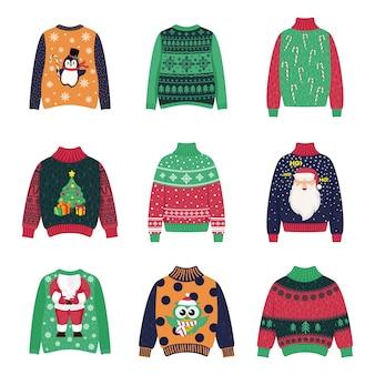 Conjunto de suéter quente de natal para inverno.