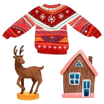 Conjunto de suéter vermelho com ilustrações coloridas de natal e casa de pão de gengibre com padrões de natal.