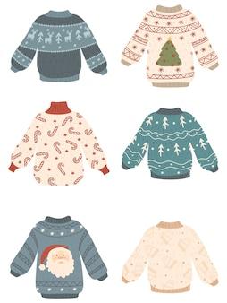 Conjunto de suéteres feios de natal