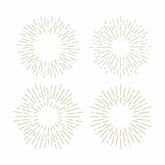 Conjunto de sunbursts vintage em formas diferentes.