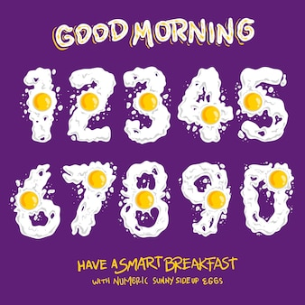 Conjunto de sunny numérico numérico ovos fritos ilustração