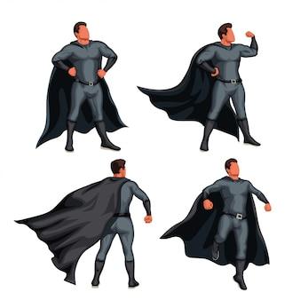 Conjunto de super herói de cor cinza