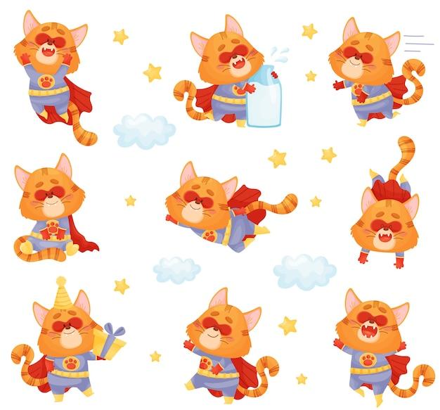 Conjunto de super-herói de gato de desenho animado em diferentes poses e situações