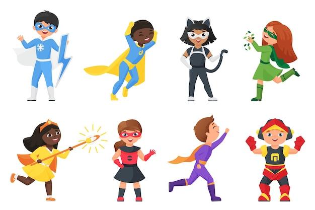 Conjunto de super-heróis, crianças com fantasias coloridas para festa
