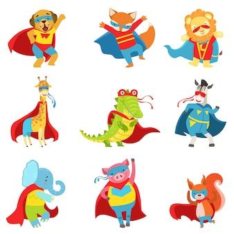 Conjunto de super-heróis de animais com capas e máscaras