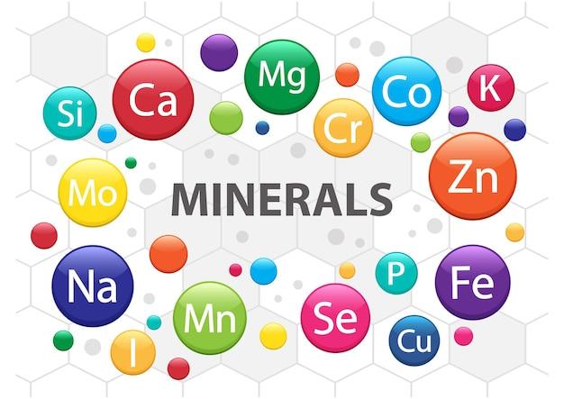 Conjunto de suplemento mineral, complexo multivitamínico. ícones de vitaminas