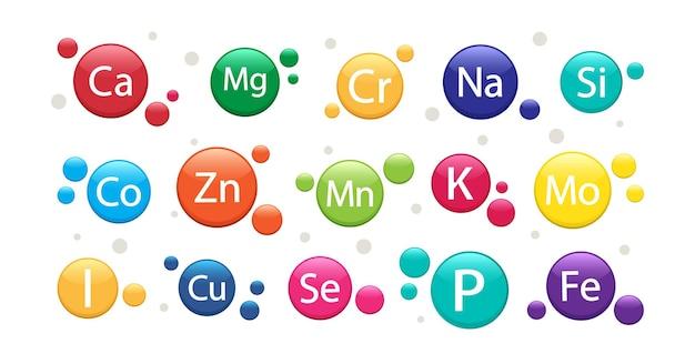 Conjunto de suplementos minerais ícones de vitaminas complexo multivitamínico 3d para a saúde ilustração vetorial