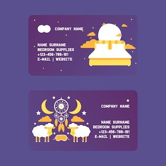 Conjunto de suprimentos de quarto de cartões de visita cama com almofadas no céu noturno entre nuvens, estrelas e lua. conceito de equipamento de noite