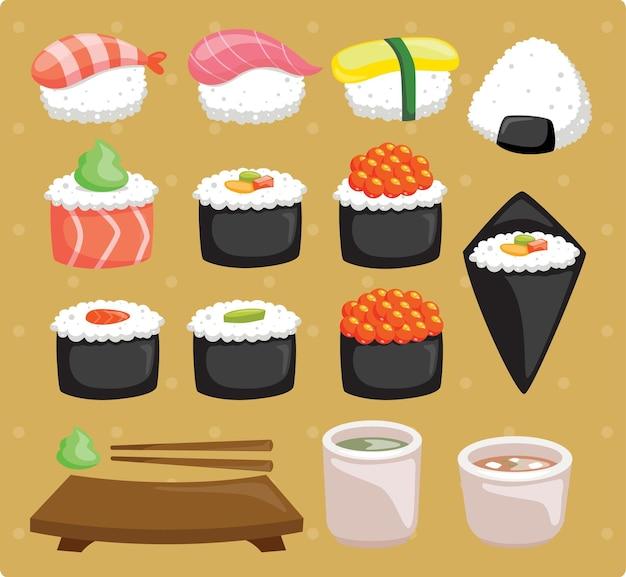 Conjunto de sushi com sopa de missô e chá de ocha