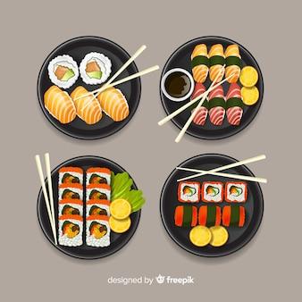 Conjunto de sushi delicioso mão desenhada