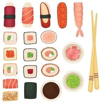 Conjunto de sushi e rolos com molho de soja, wasabi e gengibre. comida japonesa.