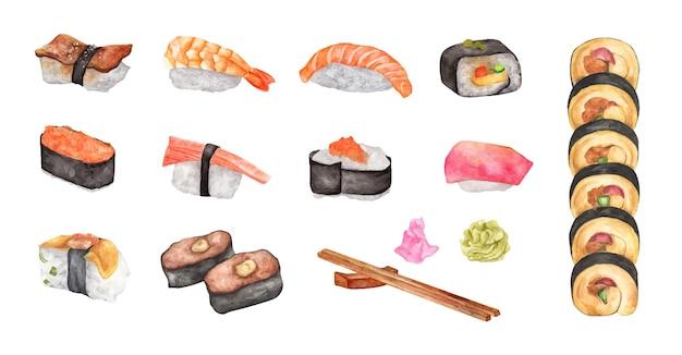 Conjunto de sushi em aquarela. ilustração de comida.