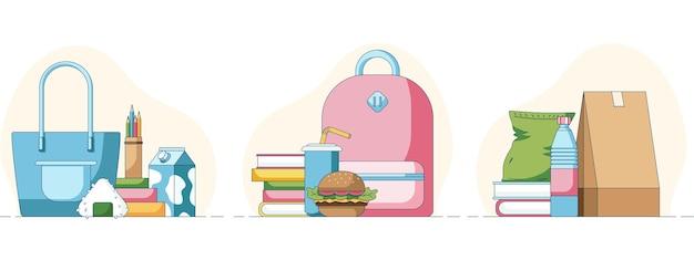 Conjunto de sushi fastfood de merenda escolar e batatas fritas na frente de livros e mochilas escolares