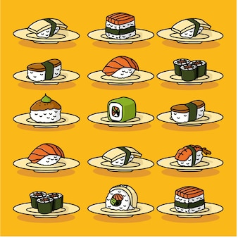 Conjunto de sushi japonês vector