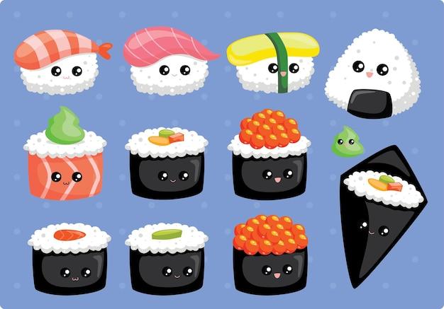 Conjunto de sushi kawaii