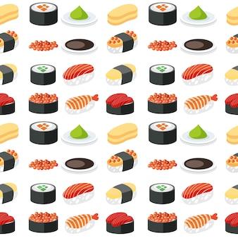 Conjunto de sushi padrão sem emenda