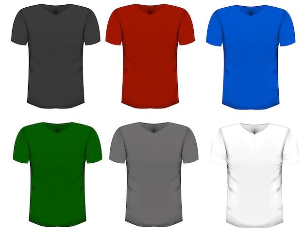 Conjunto de t-shirts realistas em um fundo branco