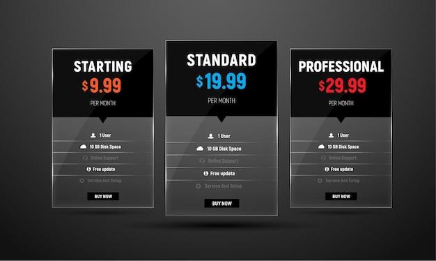 Conjunto de tabelas de preços de vetores para um site da web.