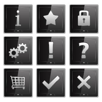 Conjunto de tablet pcs com ícones