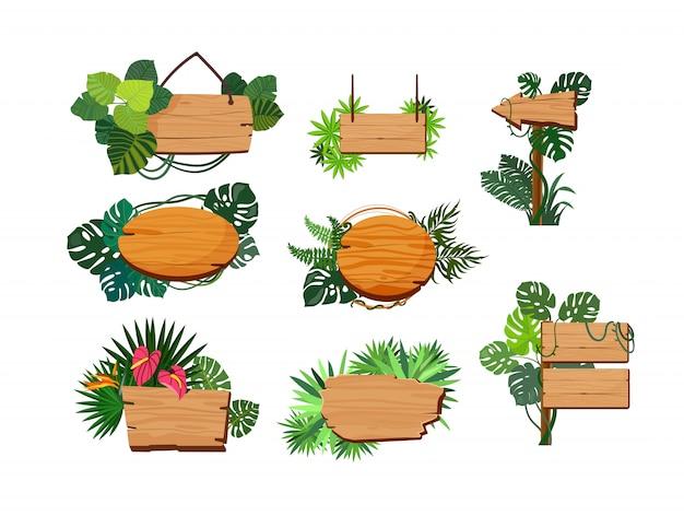 Conjunto de tábuas de madeira de selva