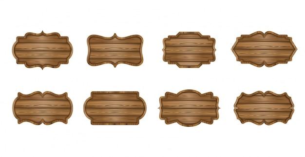 Conjunto de tábuas de madeira. etiquetas de madeira, letreiros, banners
