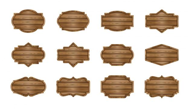 Conjunto de tábuas de madeira. etiquetas de madeira, placas, coleção de banners
