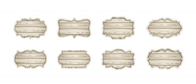 Conjunto de tábuas de madeira leves. etiquetas de madeira, letreiros, banners