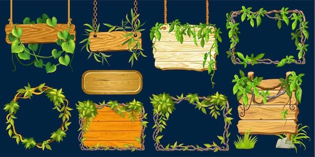 Conjunto de tábuas de madeira velhas com folhas de cipó