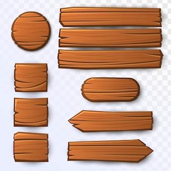 Conjunto de tábuas de madeira
