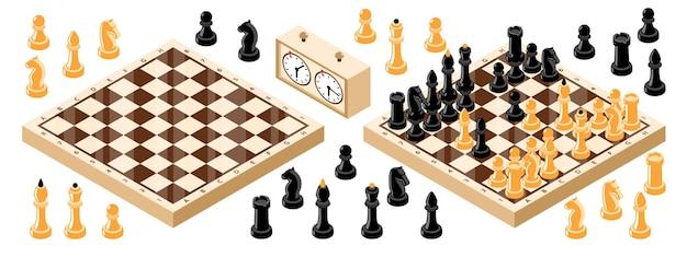 Conjunto de tabuleiro de xadrez isométrico com figuras de xadrez, cronômetro, relógio e duas ilustrações