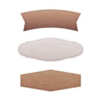Conjunto de tabuleta de madeira vazia