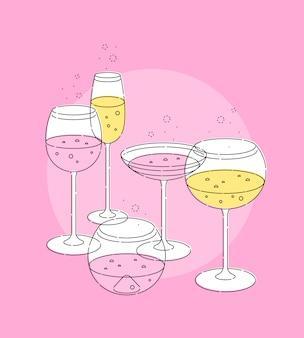 Conjunto de taça de champanhe