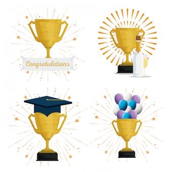 Conjunto de taça prêmio com chapéu de formatura e balões
