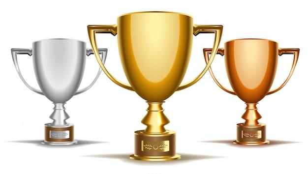 Conjunto de taças de torneio de troféus