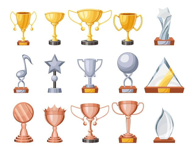 Conjunto de taças de troféu, cálice de vencedor de bronze, prata, ouro e vidro para a celebração do primeiro lugar, elementos de design do prêmio de campeão, conquista de vitória, itens de sucesso. ilustração em vetor de desenho animado