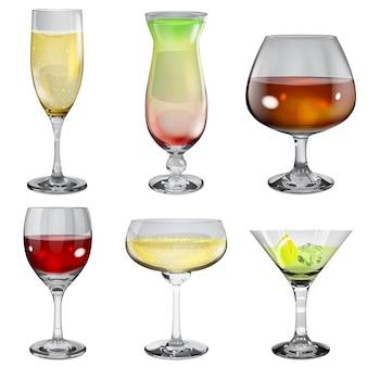 Conjunto de taças de vidro opaco com vinho, coquetel, champanhe e conhaque