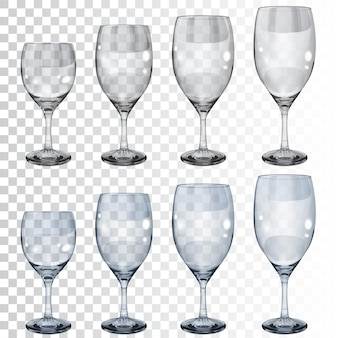 Conjunto de taças de vidro transparente vazias de diferentes tamanhos para vinho.