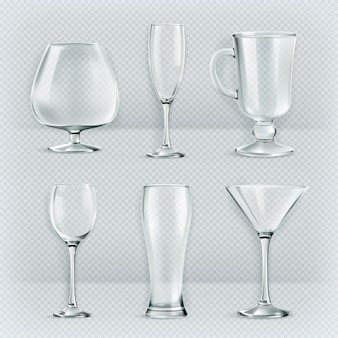 Conjunto de taças de vidros transparentes, coleção de taças de coquetel, ilustração vetorial,