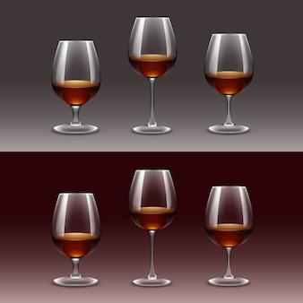 Conjunto de taças de vinho no fundo