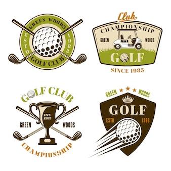 Conjunto de taco de golfe com emblemas, emblemas, etiquetas ou logotipos coloridos em estilo vintage, isolado no fundo branco