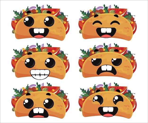 Conjunto de tacos com emoções clipart engraçado infantil ilustração em vetor em estilo cartoon divertido desenho animado