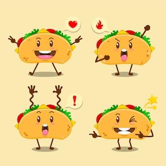 Conjunto de tacos fofos com ilustração de várias expressões